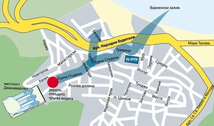 Карта наводнения в Варне в Аспарухово, 2014