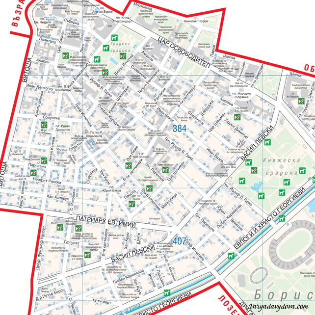 Карта квартала Центр в Софии, район Средец (Болгария)