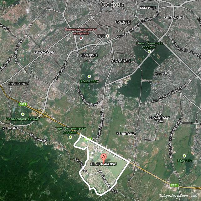 Квартал Драгалевци на карте Софии (Болгария)