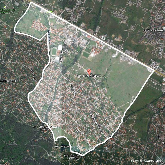 Карта квартала Драгалевци в Софии (Болгария)