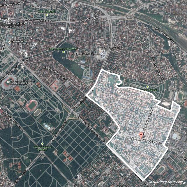 Квартал Гео Милев на карте Софии (Болгария)