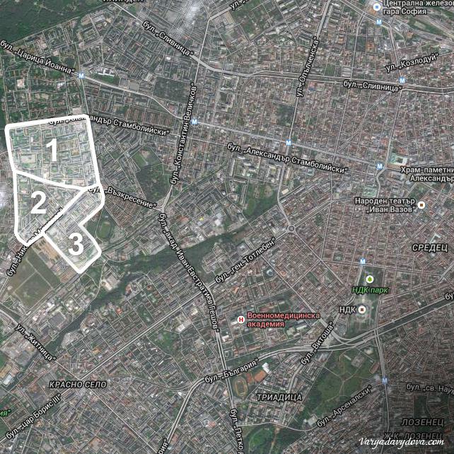 Квартал Красна Поляна на карте Софии (Болгария)