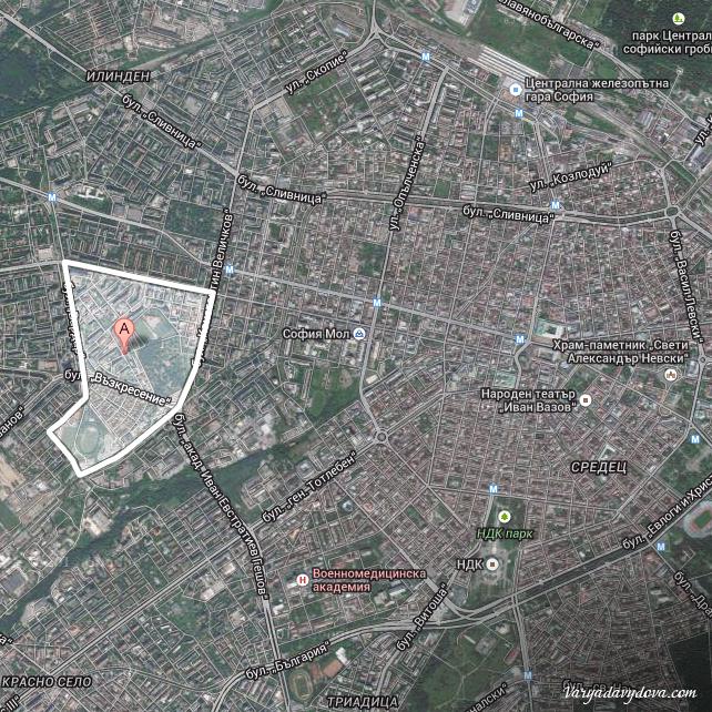 Карта квартала Разсадника-Коньовица (София, Болгария)