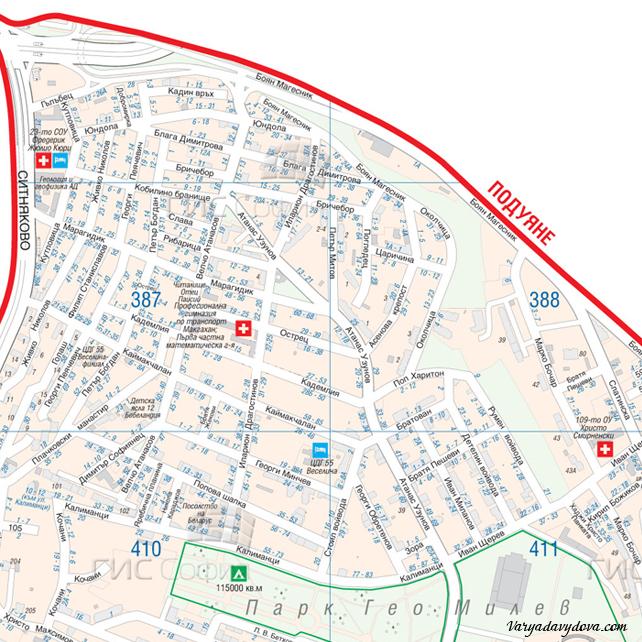 Карта квартала Редута - София, Болгария