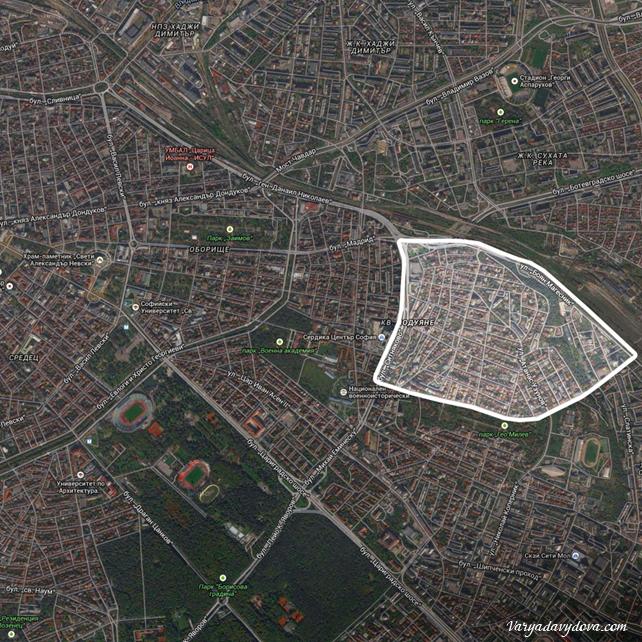 Квартал Редута на карте Софии, Болгария