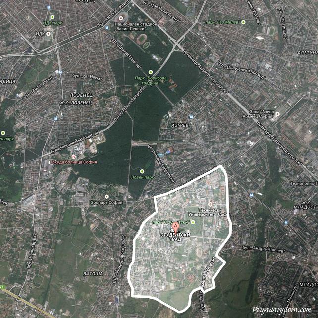 Квартал Студентски Град на карте Софии (Болгария)