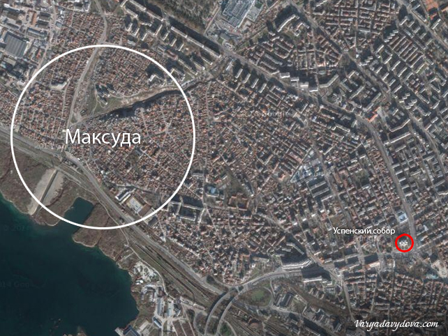 Квартал Максуда на карте, Варна, Болгария