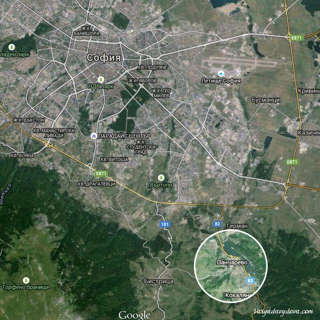 Квартал Панчарево на карте Софии, Болгария